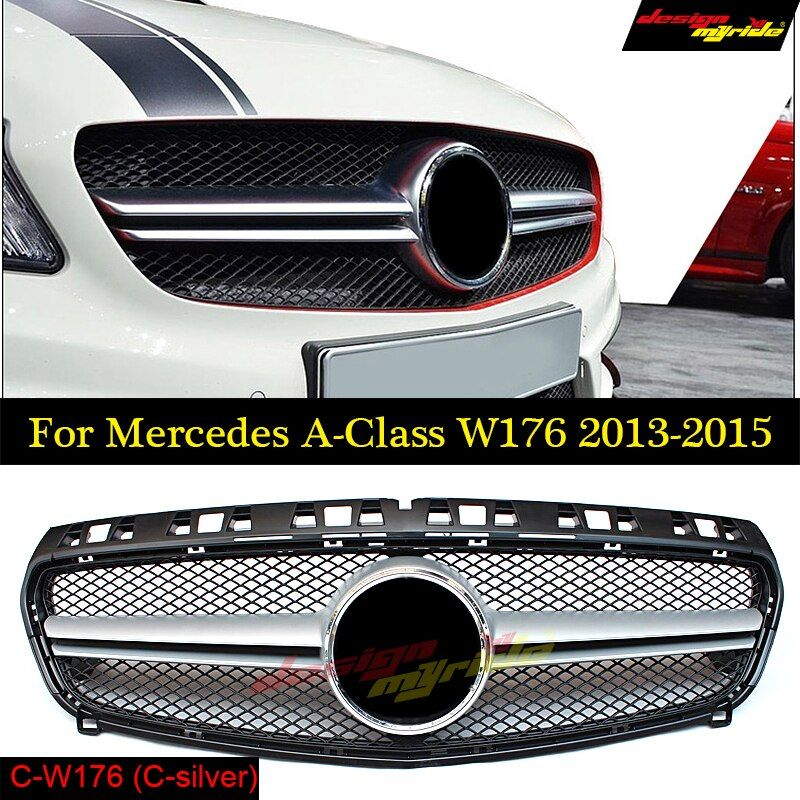 GOLFLIATH AMG Style W176 ABS Black Front Grill Grille for Mercedes Benz A-CLASS A180 A200 A260 A45 AMG 2013 2014 2015