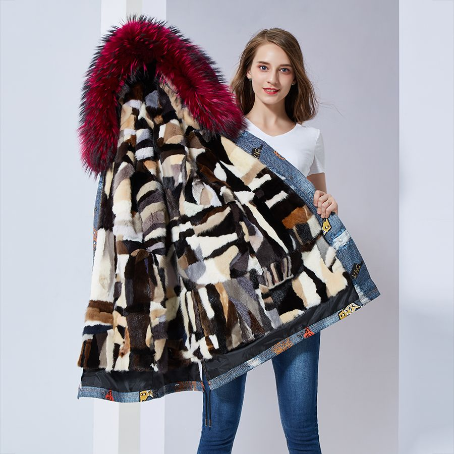Colourful parkas mujer long nature mink fur lined parka female wine red collar fur hooded jacket women