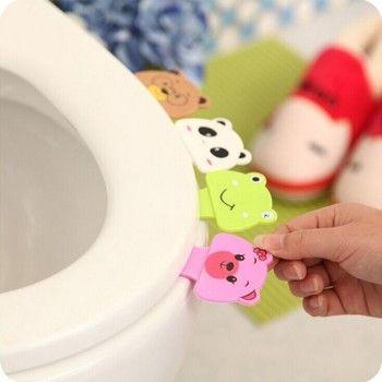 Livraison gratuite 1 pcs portable pratique aux Toilettes couvercle dispositif est mention Toilette ensemble bague de pot poignée accueil Salle De Bains produits ensembles
