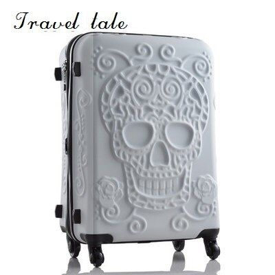 Travel tale personality fashion 19/24/28 Inch Rolling Luggage Spinner brand Travel Suitcase original 3d skull luggage
