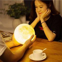 Táctil Usb Lámpara de noche 3d impresión Luna Luminarias dormitorio romántica luz de la noche Powerbank Led lámpara ahorro de energía