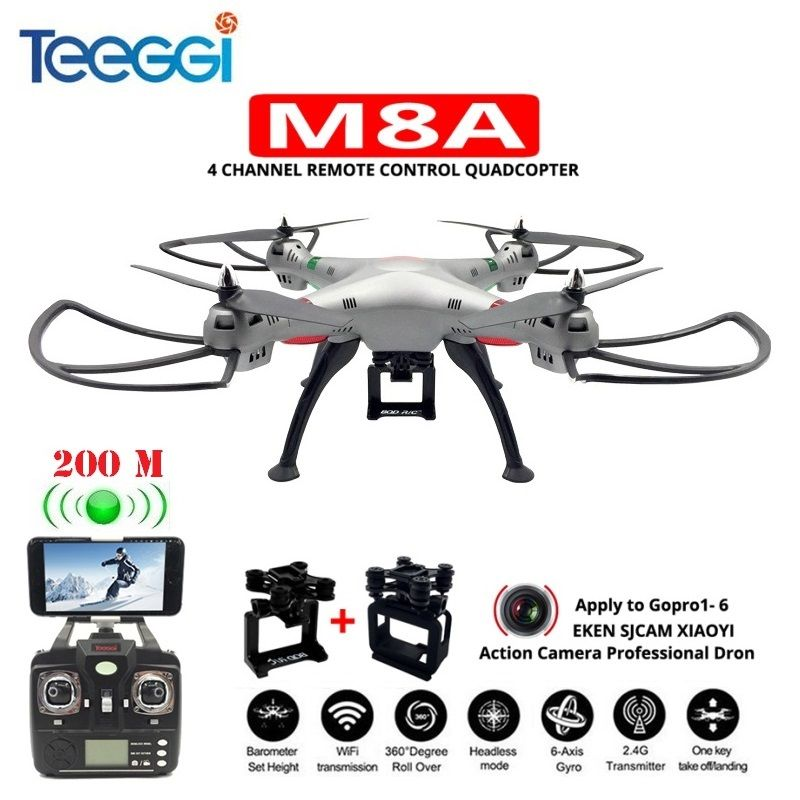 Teeggi M8A FPV RC Quadcopter Professional Drone With Gimbal For Gopro5/6 EKEN XIAOYI HD Camera VS X8 X8HG Helicopter Dron