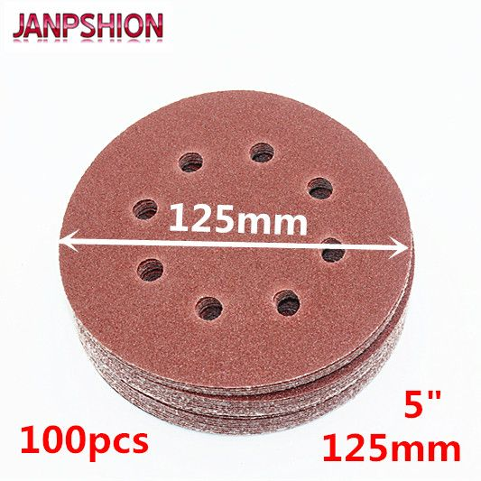 JANPSHION 100pcs 125mm Hook & Loop Abrasive Sand Paper 5 inch red Sanding Disc with 8 holes Grits 60~2000 available