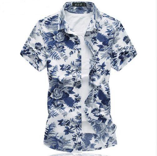 2018 New floral shirt Summer Breathable thin Mercerized cotton short sleeve men shirt chemise Plus size blouse 7XL