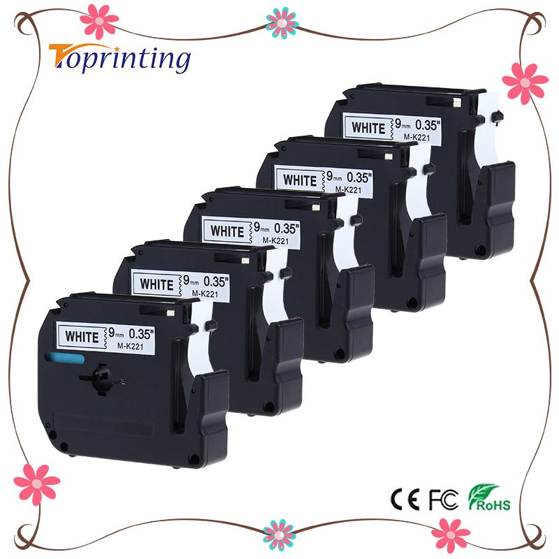 5 Pack M221 M-K221 MK221 M Tape Black on White for Brother P Touch Label Maker PT-90 PT-M95 PT-70BM PT-70 PT-65 PT-85 PT-45