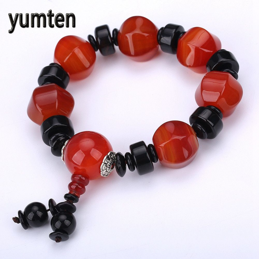 Yumten Fashion Bracelets Men Beads Natural Aquatic Agate Chalcedony Jewelry Accessories Handmade Couple Gift Carter Bangle Osu