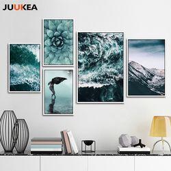Vert Mer Nature Plantes Montagnes Paysages Set Paysage, Toile Peinture Affiche Art, mur Maison et Décoration Art
