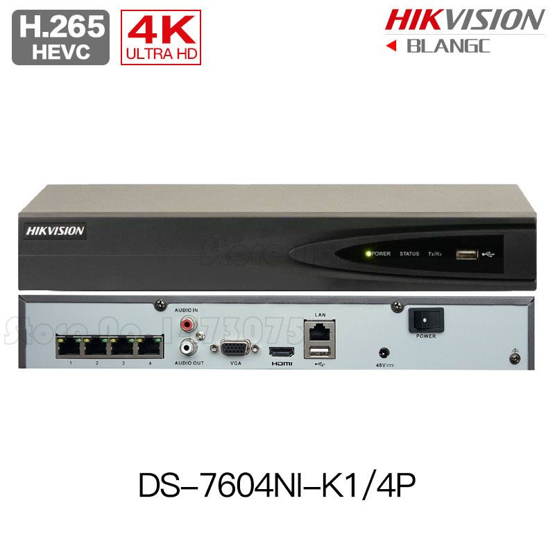 Hikvision Original English H.265 4K poe NVR DS-7604NI-K1/4P Replace DS-7604NI-E1/4P Embedded Plug&Play 4POE support 4 IP Camera