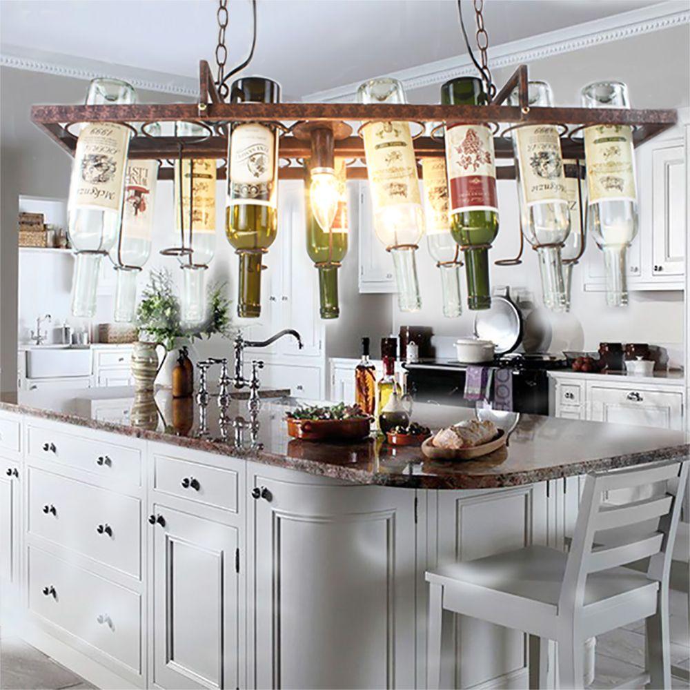 Bricolage Vintage rétro suspendus bouteille de vin plafond pendentif lampes lumière LED pour bar salle à manger restaurant cuisine luminaire E27