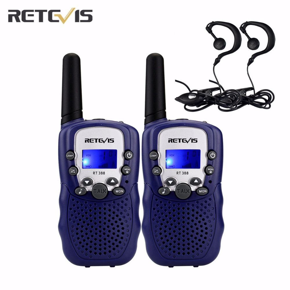 2 pcs Mini Walkie Talkie Kids+2 pcs Headsets 0.5W 5 Colors 446MHz LCD Display Portable Retevis RT388 Two Way Radio Toys A7027