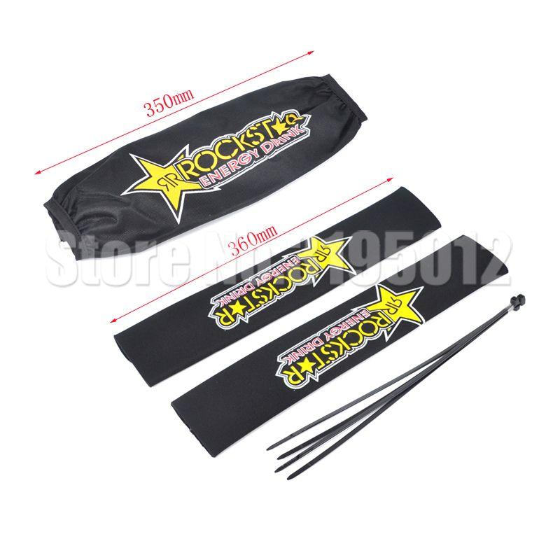 Rockstar Front Fork Protector Rear Shock Absorber Guard Wrap Cover For CRF YZF KTM KLX Dirt Bike Motorcycle ATV Quad Motocross