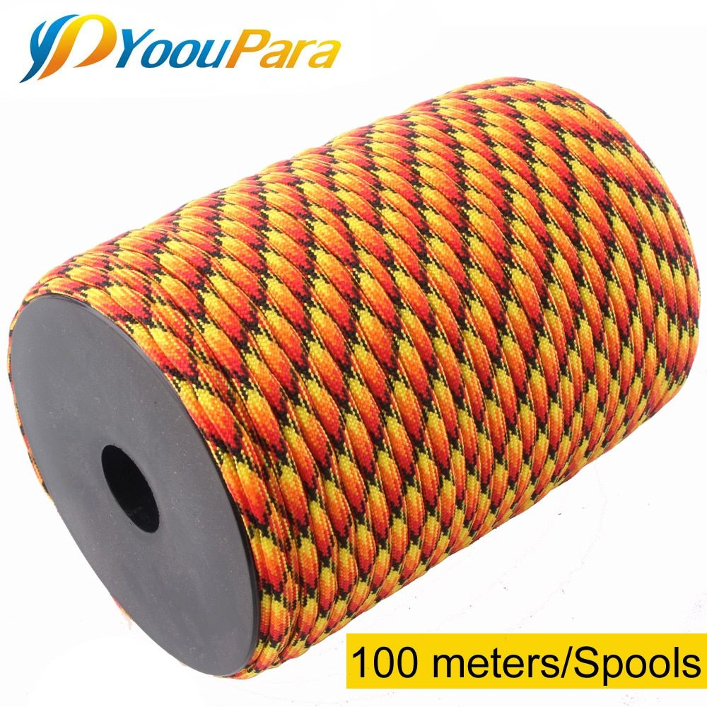 100m Spools Paracord 550 Rope Parachute Cord Lanyard 7 Strand Paracord Outdoor Camping Survival Emergency Equipment
