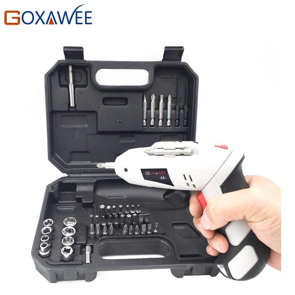 GOXAWEE 4.8 V Électrique Tournevis Sans Fil Rechargeable Batterie Parafusadeira Furadeira Multi-fonction Électrique Perceuse Outil