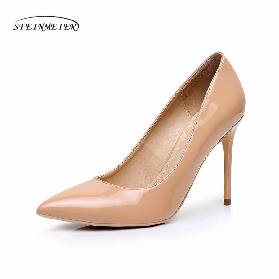 Women sexy high heels shoes quality thin heel point toe 10cm patent leather red silver big sizes 33-41 pink pumps party shoes