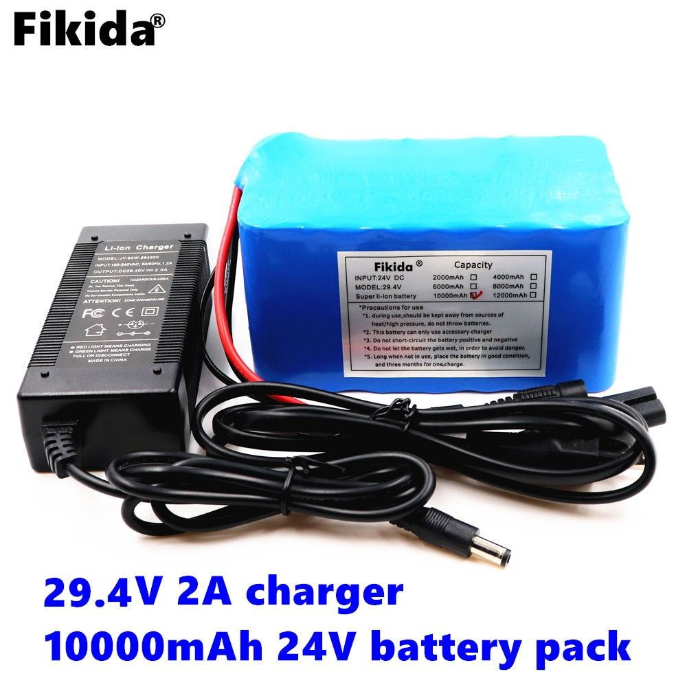 Fikida Original 10000mAh 7S 24V 25.9V 29.4V 10Ah 18650 Lithium-Ion Battery Pack Lightweight Electric Bicycle with 15A BMS