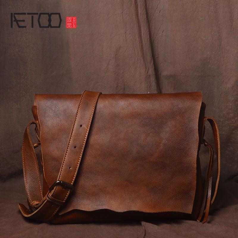 AETOO Retro handmade original simple personality shoulder bag men tanned leather cowhide messenger bag casual leather postman