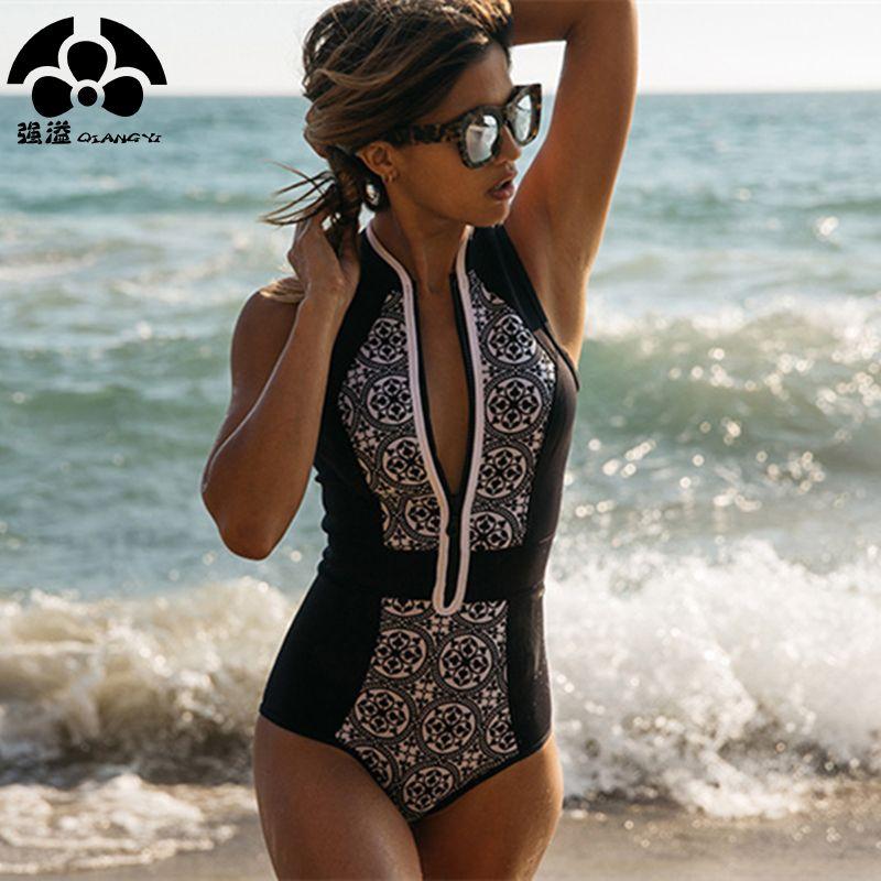 2019 One Piece maillots de bain femmes maillot de bain femme Zipper rétro imprimé Push Up maillot de bain plage Bikini combinaison Vintage Biquini nouveau