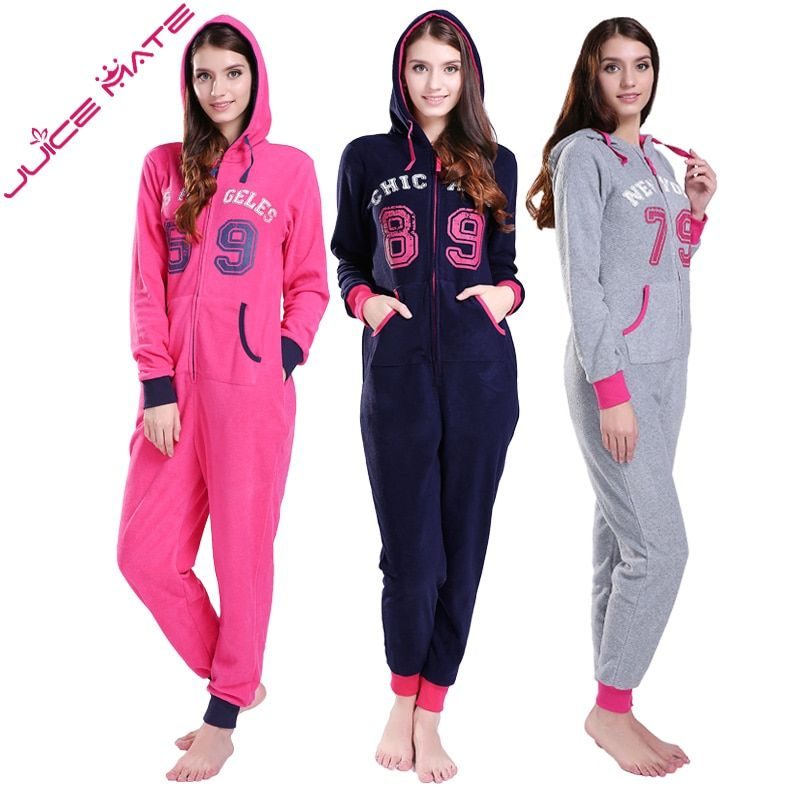 JuiceMate Plus Size All In One Piece Tracksuit Playsuit Onesie Micro Fleece Letters Overalls Onesie Romper Jumpsuit For Women