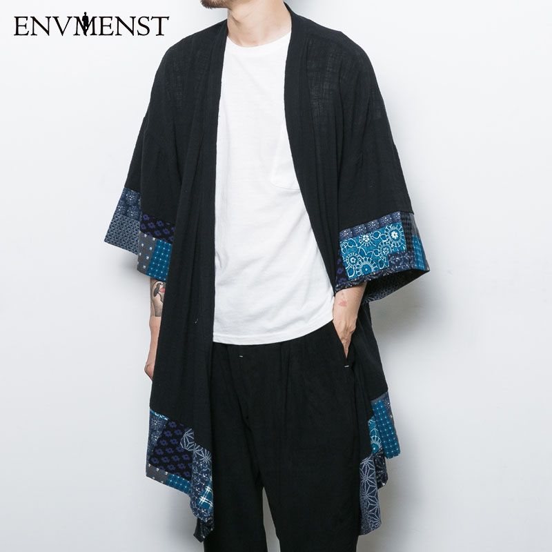 2017 Chinese Style Men's Cardigan Jacket Men's Three Quarter Sleeves Linen Casual Trench Open Stitch Clothing Clothing Shirts
