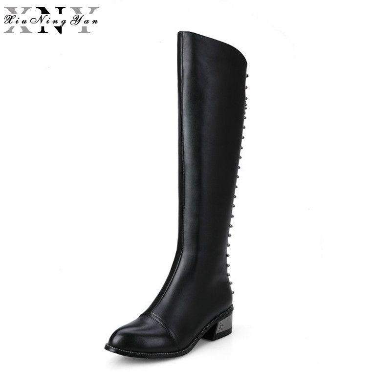 XiuNingYan 100% Volles Echtes Leder Vorne mit Zip Frauen Kniehohe Stiefel Platz Heels Winter Mode Stiefel Schwarz Weiß 33-40