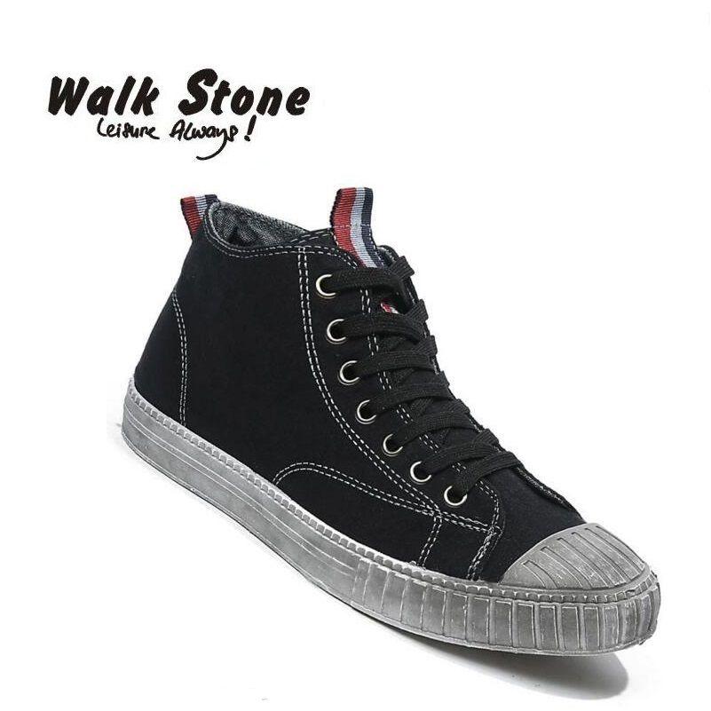 Marche Pierre de Casual Hommes Vulcaniser Chaussures Cool Punk Imprimé Dentelle-Up High Top Toile Chaussures Pour Hommes Confort Appartements Homme Zapatos Hombre