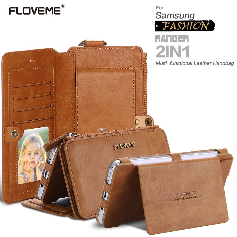 FLOVEME Retro Folded Wallet Case For Samsung S8 S8 Plus S7 S6 Edge Cover Luxury Card Slots Phone Bag Cases For Galaxy Note 3 4 5