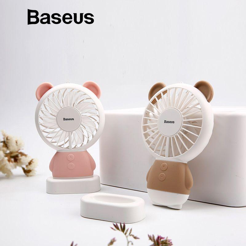 Baseus Aufladbarer Mini USB Hand Fan Für Reisen Outdoor Büro Kreative Lüfter mit Bunte Led Nacht Licht