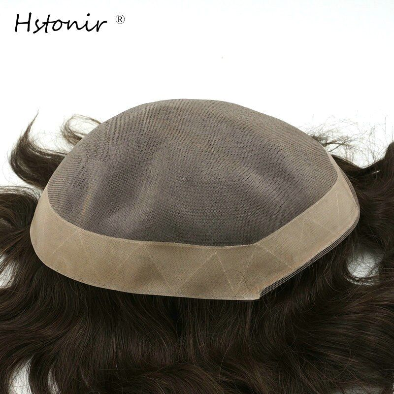 Hstonir Afra Hair Replacement Systems Mono Lace And Pu Poly Around Natural Color Hair Toupee Mens Hair Piece Stock H008