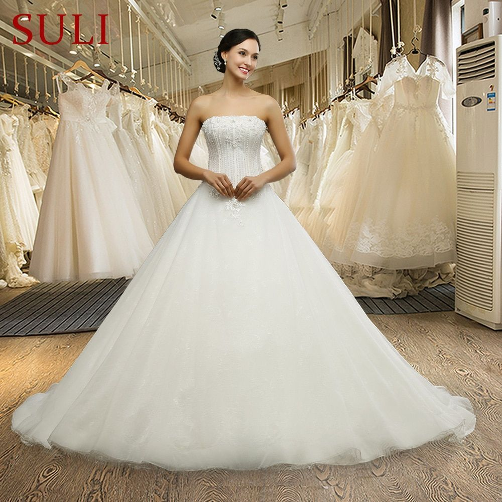 Q025 Cheap Long Strapless Beading Backless Lace Wedding Dresses