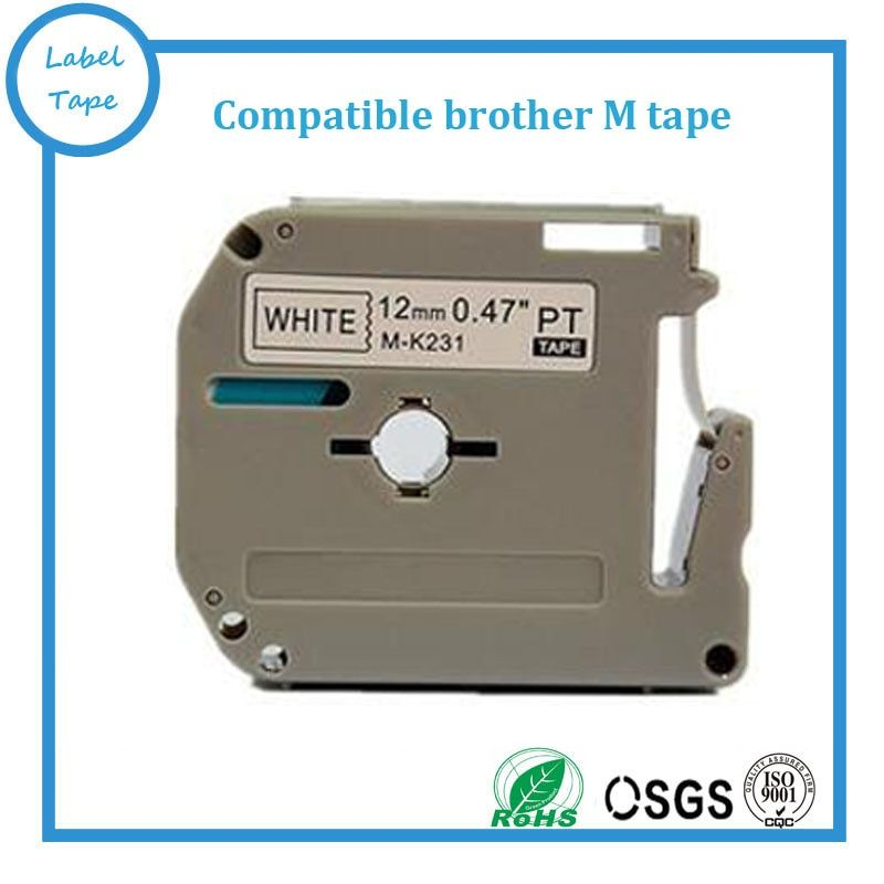10 pcs/lot Brother M-K231 MK231 compatible P-touch 12mm black on white M tapes brother label printer