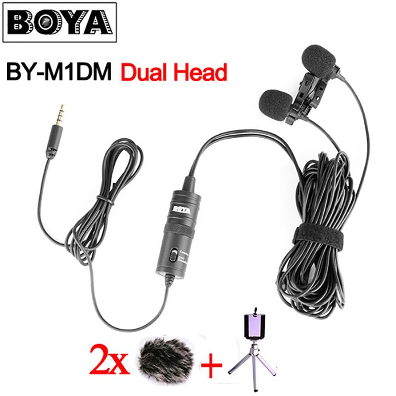 BOYA BY-M1DM Dual Head Lavalier Condenser Microphone Audio Record for iPhone Andriod DSLR Canon Nikon Camcorder,Updated of BY-M1
