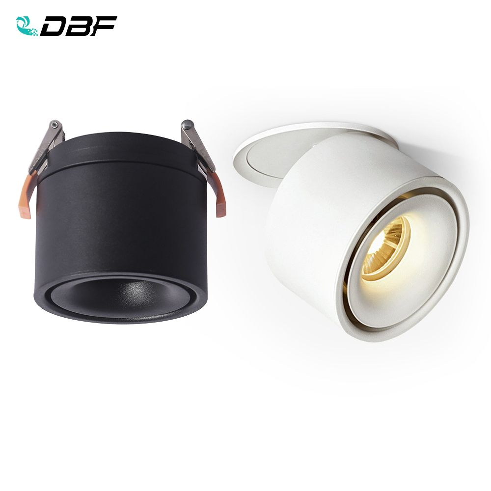 [DBF]Foldable LED COB Recessed Downlight Black/White Housing 3W 5W 7W 10W 12W 15W LED Ceiling Spot Light for Pictures Background
