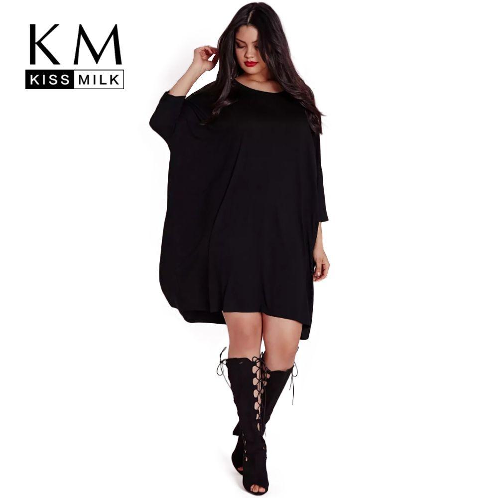 Kissmilk 2018 Big Size New Fashion Women Clothing Casual Brief Solid O-Neck Loose Summer Dress Plus Size Dress 4XL 5XL 6XL