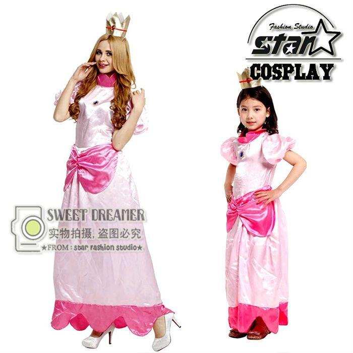 Принцесса Персик костюм для мамы и дочки Одинаковые комплекты для семьи Супер Марио партия Косплэй костюмы на Хэллоуин розовый нарядное ми...
