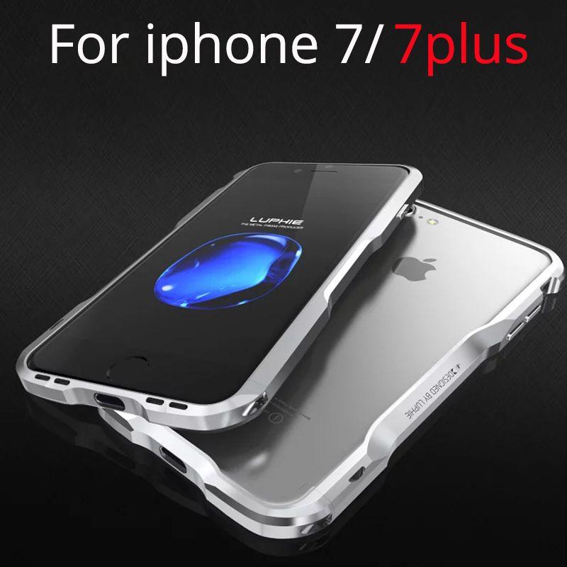 Pare-chocs en métal pour iPhone 7 Plus Housse Coque Etui De Luxe 3D Cadre En Aluminium Antichoc Boîtier de Téléphone pour iPhone 7 8 Plus Accessoires Coque