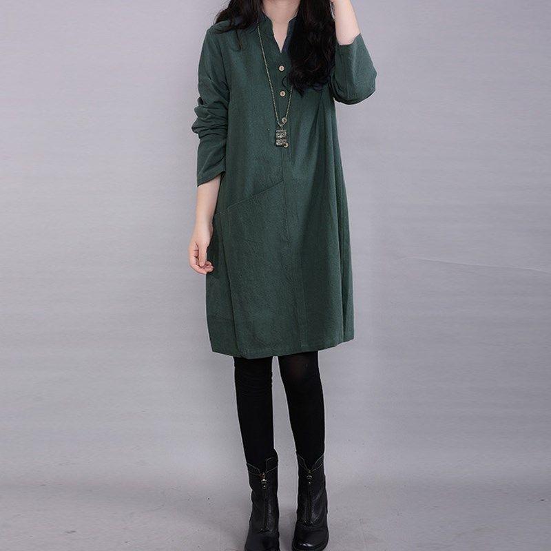 ZANZEA 2017 Printemps Automne Femmes Style Ethnique Robe Casual Manches Longues Linge Lâche Robe Élégante Robes de Poche Plus La Taille