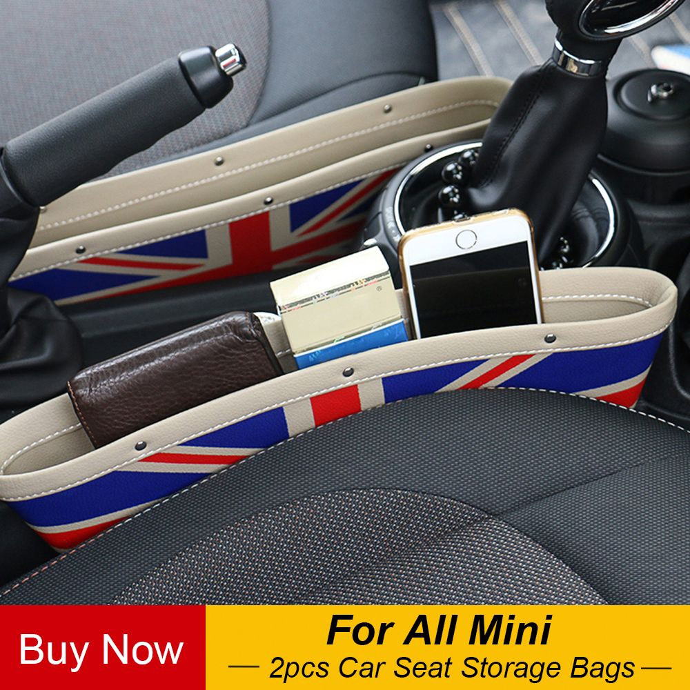 2pcs Car Seat Gap Anti-Leak Storage Bags Pocket for Mini Cooper One JCW Countryman Clubman F55 F56 F60 R56 R60 R61 Accessories