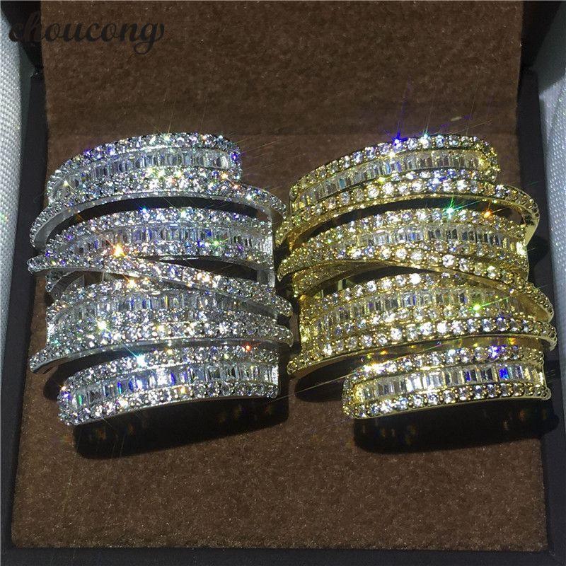 Choucong Kreuz Schmuck Großen ring T form 5A zirkon Kristall Gelb & White gold füllte Engagement Hochzeit Band Ringe Für Frauen männer