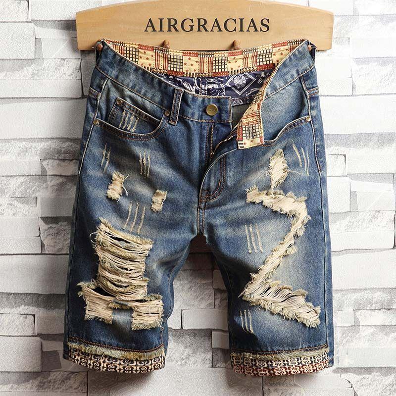 AIRGRACIAS hommes déchiré court Jeans marque vêtements Bermuda coton Shorts respirant Denim Shorts mâle nouvelle mode taille 28-40