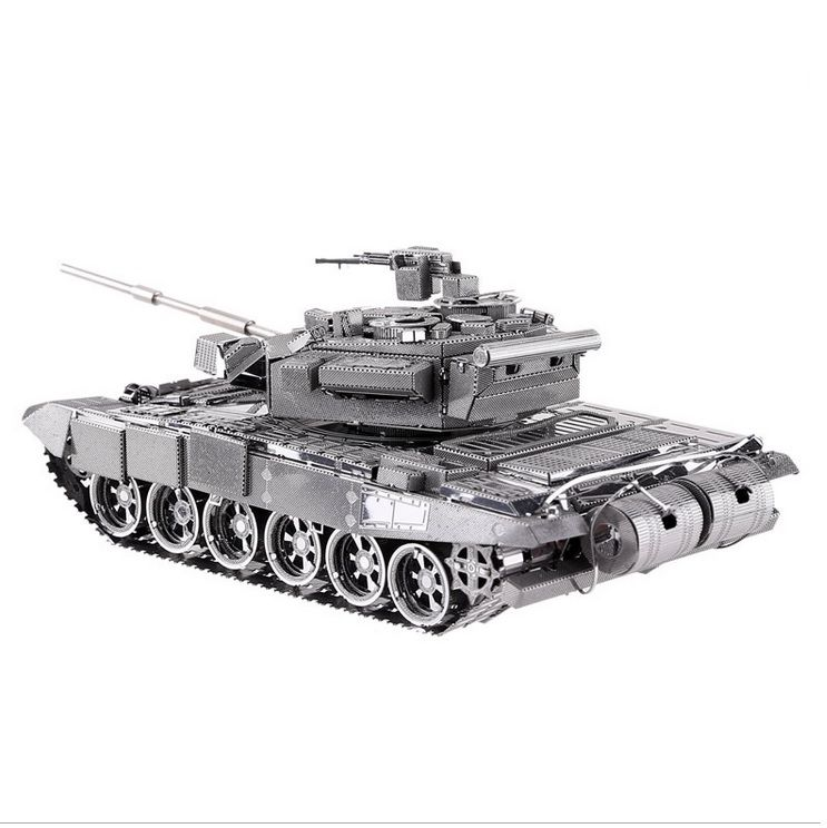 T90A tank model silver color 3D DIY laser cutting model educational diy toys Jigsaw Puzzle best birthday gifts