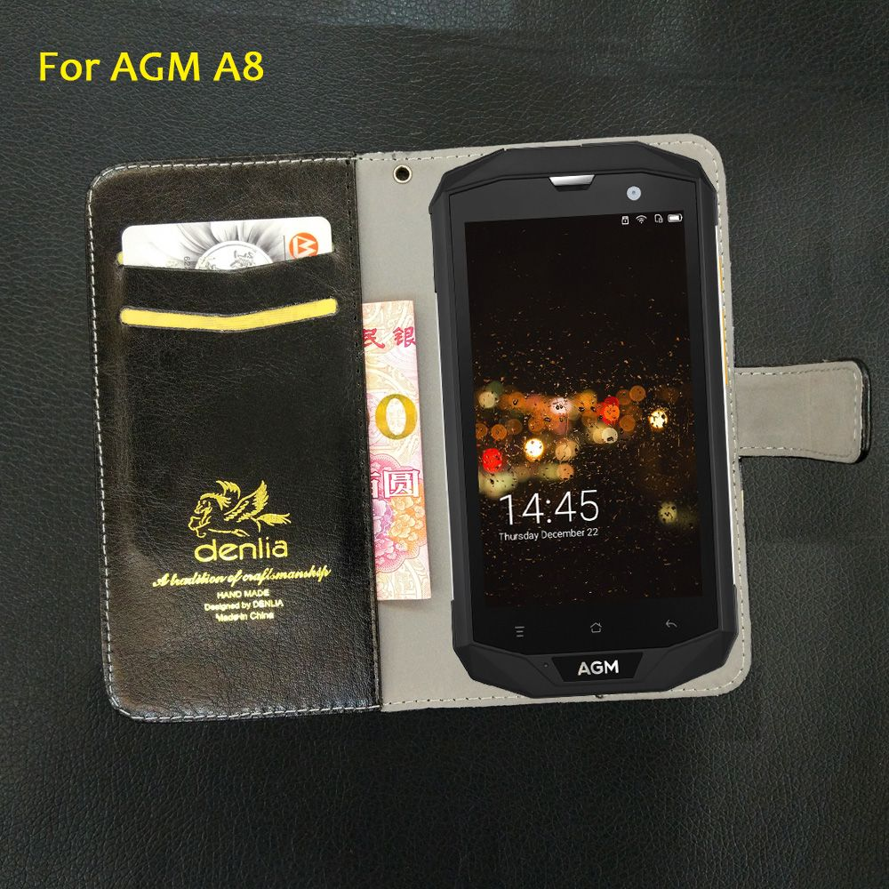 TOP New! AGM A8 Case 5 Colors Flip Luxury Leather Case Exclusive Phone Cover Credit Card Holder Wallet+Tracking