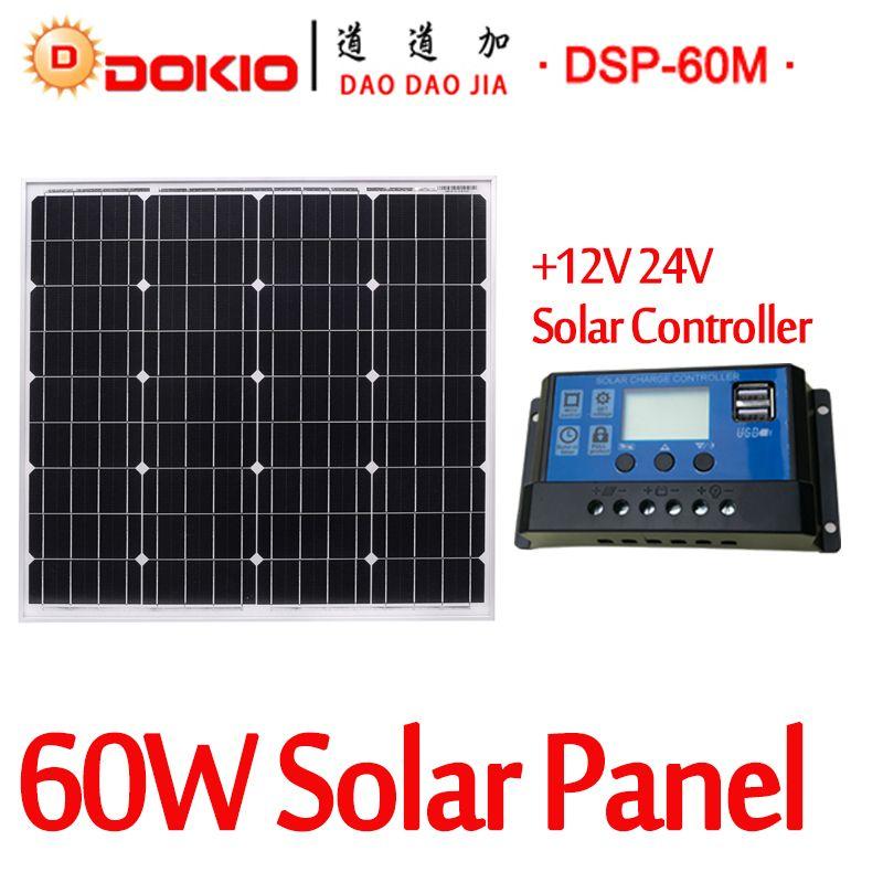 DOKIO Brand 60W 18 Volt Black Solar Panel China + 10A 12/24 Volt Controller 60 Watt Panels Solar Cell/Module/System/Home/Boat