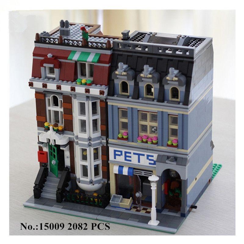 H & HXY 15009 2082 stücke Stadtstraße Pet Shop Modellbau Kits Blocks Bricks JUNGE Schöne LEPIN Spielzeug DIY Educational Kinder Geschenk