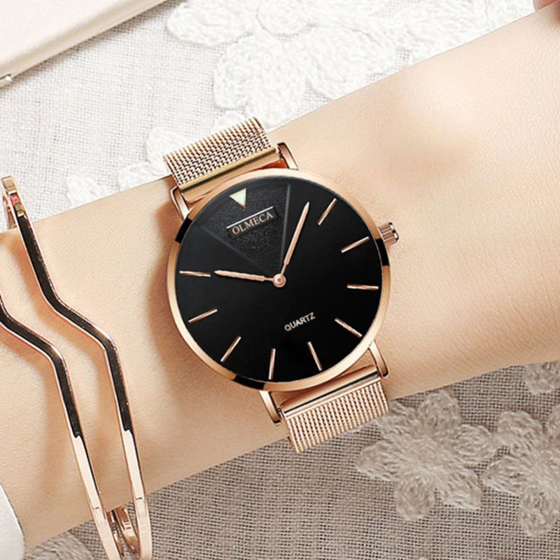 Mode Ultra mince Quartz dames montres de luxe marque or Rose femmes montres minimalistes en acier maille étanche filles horloge
