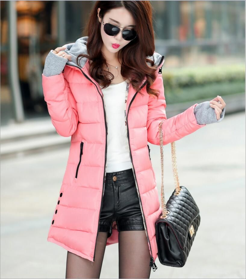 Mid-length cotton coat female winter 2018 new hooded down cotton coat