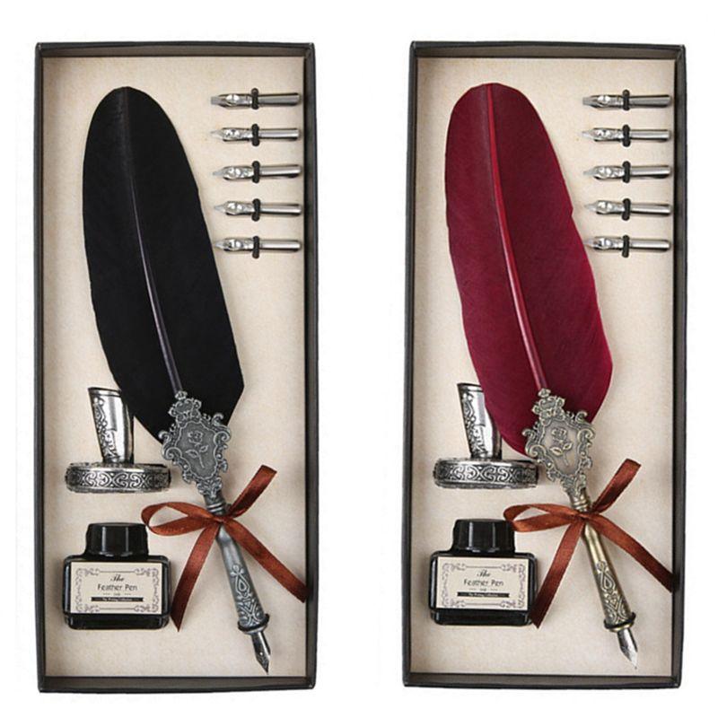 YDNZC 1 pièces haute qualité classique plume Dip stylo écriture encre luxe cadeau ensemble Quill stylos à plume créatif Vintage Signature stylo