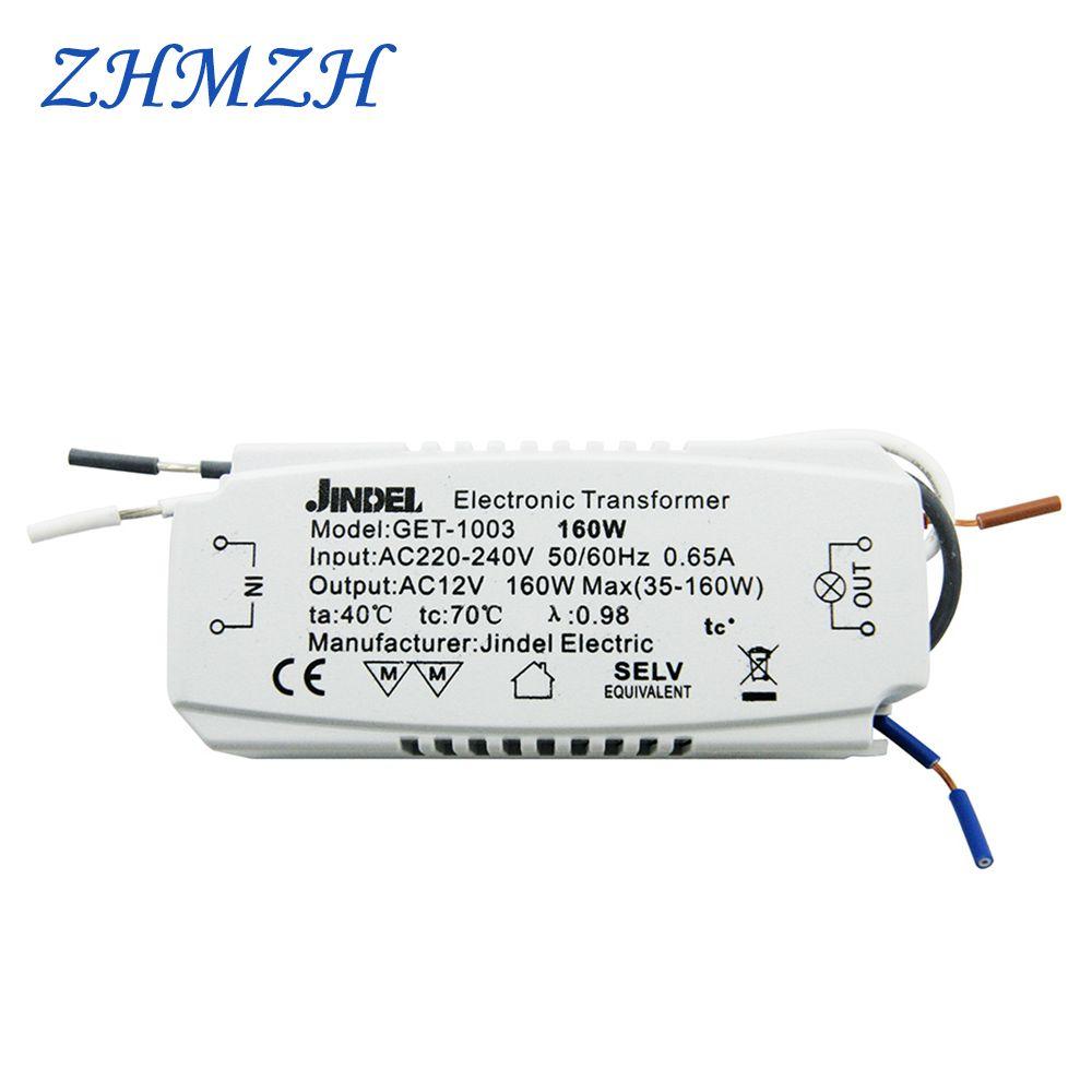 JINDELI AC220V à AC12V transformateur électronique 60 W 105 W 120 W 160 w pour G4 cristal halogène lampe perle CE transformateurs d'éclairage