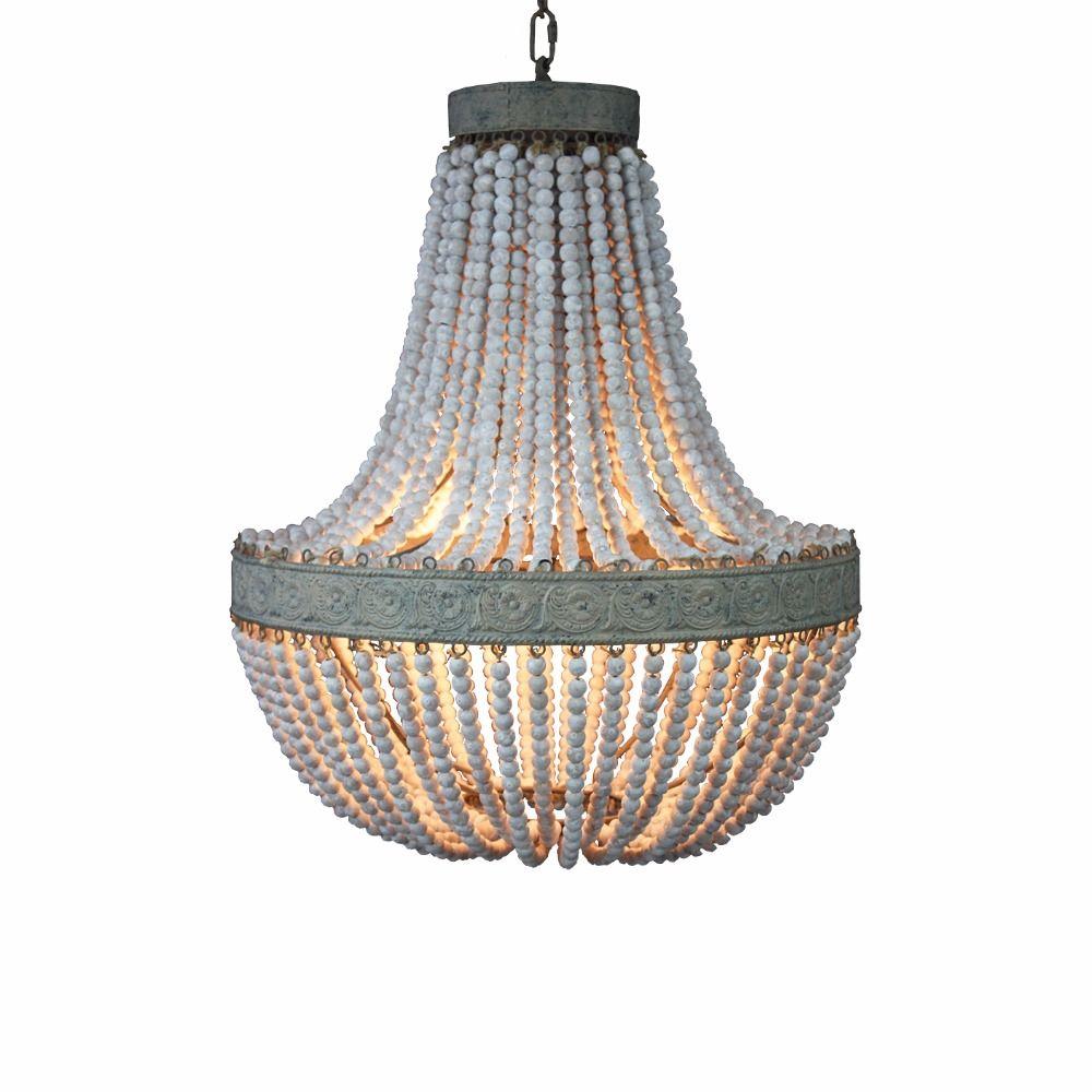 Amerikanischen land stil retro hängende Kalk weiß holz perlen anhänger lampe led-leuchten E27 AC 110 v 220 v für schlafzimmer wohnzimmer