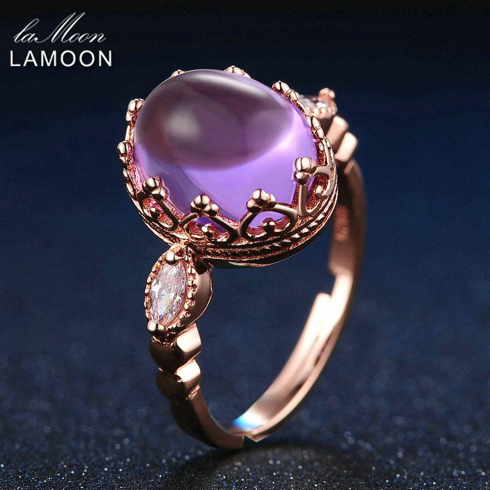 LAMOON 925 Sterling-argent-bijoux 3.5ct 100% naturel violet améthyste anneaux pour les femmes soirée Cocktail Ringen bijoux fins RI022
