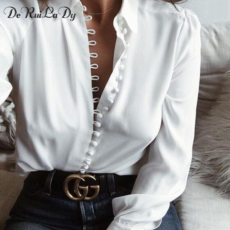 DeRuiLaDy Female Elegant Long Sleeve Black White Blouse Shirt Women Casual Streetwear Shirt Tops Female Cotton Button Shirt 2018